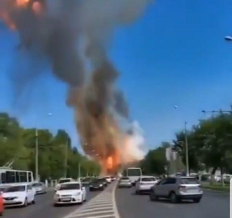 """عاجل انفجار محطه بنزين ب """"روسيا"""""""