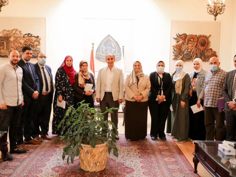 """جامعة الزقازيق تهنئ الفائزات بمنحة وزارة التضامن الاجتماعي """"حاضنات الفائقين"""