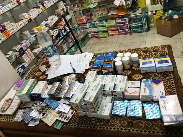 تشميع صيدلية وضبط 1571 صنف دواء مخالف بكفر صقر شرقية