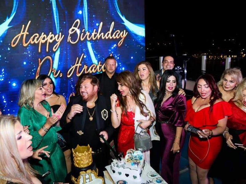 نجوم الفن مادلين طبر ورانيا فريد شوقي ومحمد مختار يحتفلون بعيد ميلاد خبير التجميل اللبناني هراتش